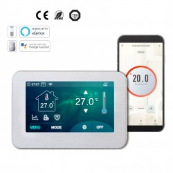 Underfloor Heating Thermostat Big Colour Touch Screen 4.3inch (Floor & Air Sensing Thermostat) - Wifi Connection