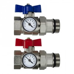 Ball Valves and Temperature Gauge For Underfloor Heating Manifolds