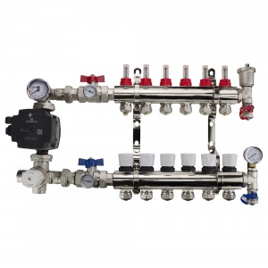 Brass Underfloor Heating Manifolds Complete Kit + 'A' Rated Grundfos / Wilo Pump Pack